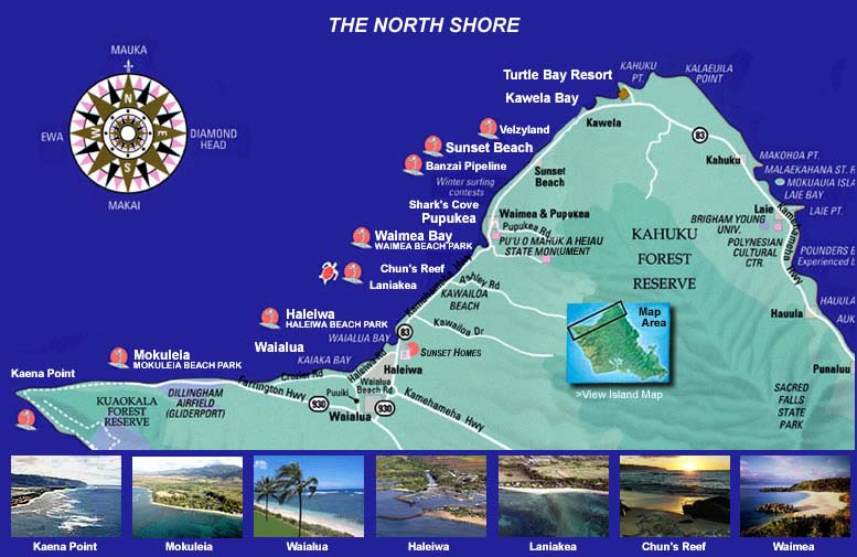 Oahu Hawaii, North Shore, Map