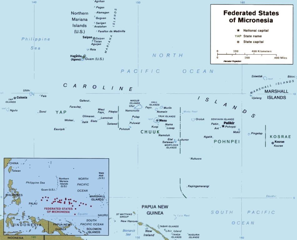 Caroline Islands, Micronesia Map