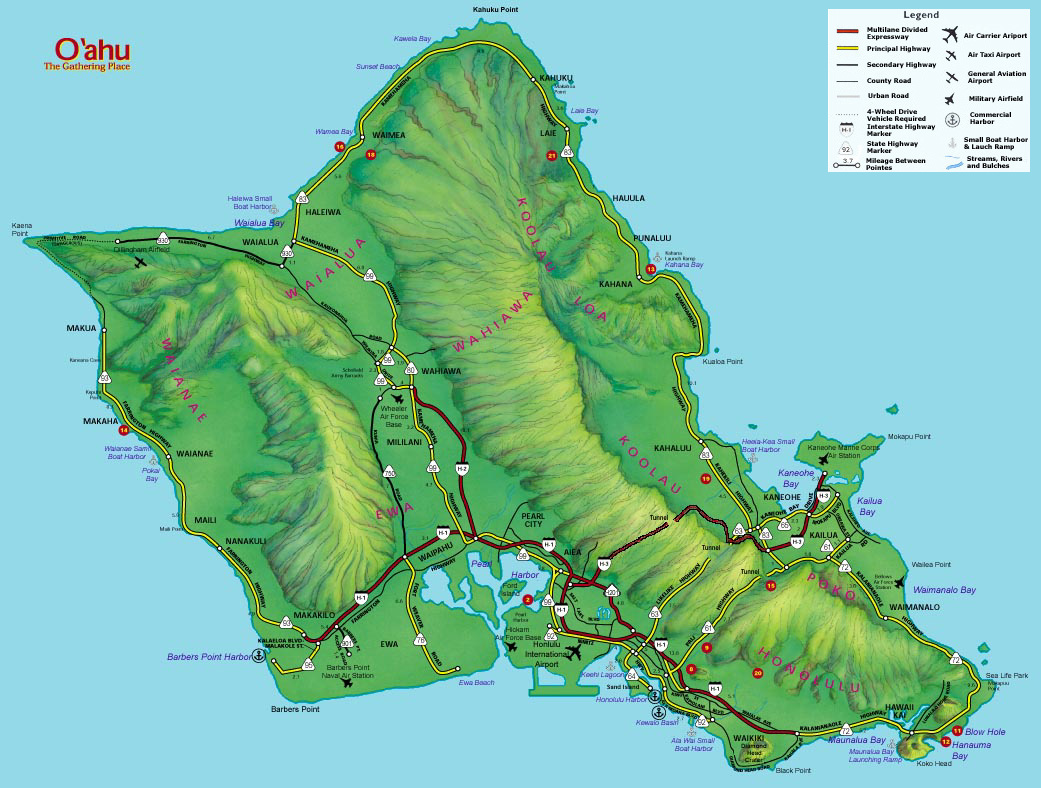 Oahu Map - Surf Destinations from SurfTrip .com
